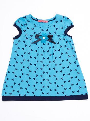 Niebieska sukienka dziecięca z nadrukiem all over