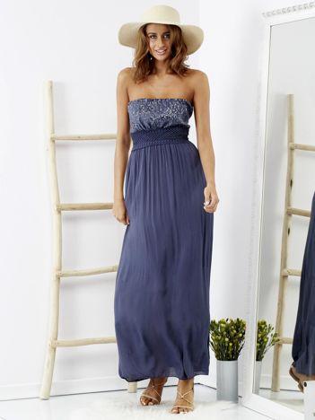 Niebieska sukienka maxi z cekinową górą