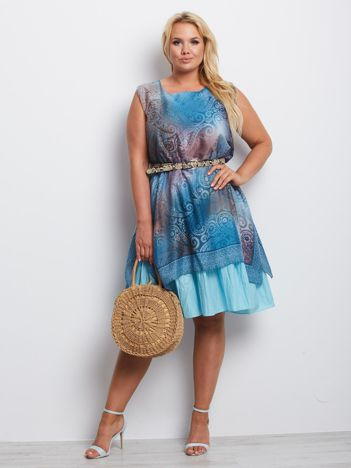 Niebieska sukienka plus size Delaware