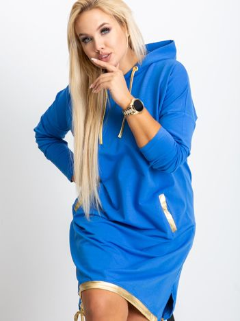 Niebieska sukienka plus size Rock