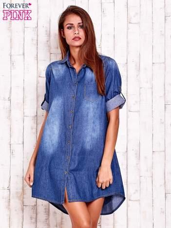 Niebieska sukienkokoszula z kieszeniami i podwijanymi rękawami