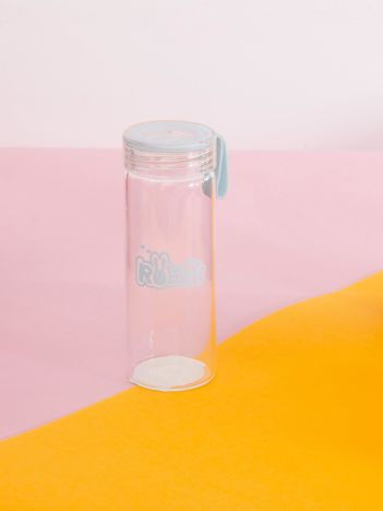 Niebieska szklana butelka na wodę