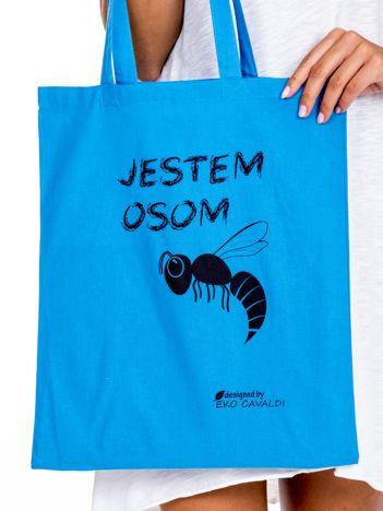 Niebieska torba materiałowa JESTEM OSOM