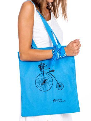 Niebieska torba materiałowa z rowerem
