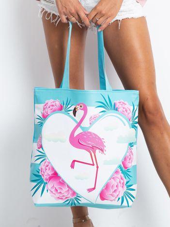 Niebieska torba z flamingiem