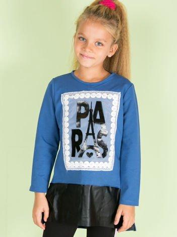Niebieska tunika dla dziewczynki z aplikacją