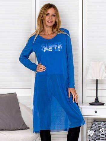 Niebieska warstwowa bluzka z ażurowaniem