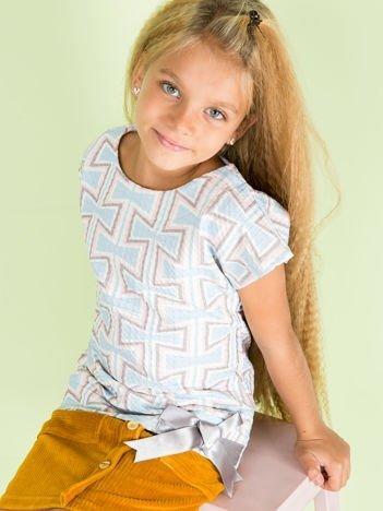 Niebieska wzorzysta bluzka dziewczęca