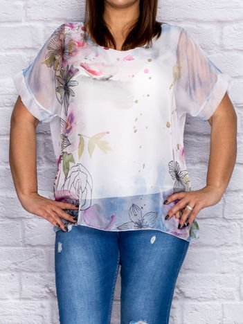 Niebieska zwiewna bluzka koszulowa z motywem kwiatów PLUS SIZE