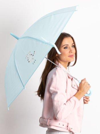 Niebieski damski parasol z nadrukiem
