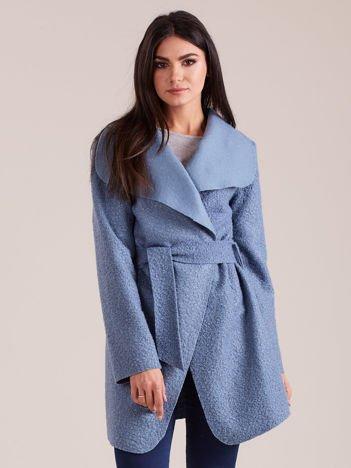Niebieski dzianinowy damski płaszcz