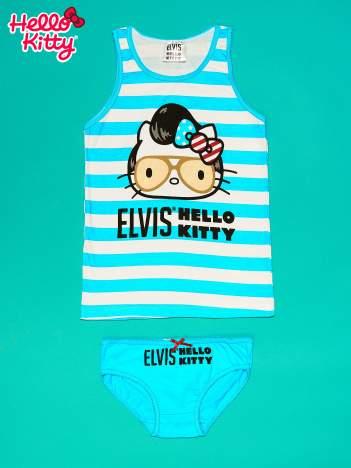 Niebieski komplet do spania dla dziewczynki z nadrukiem ELVIS HELLO KITTY