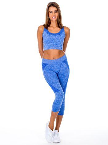 Niebieski komplet sportowy top i legginsy