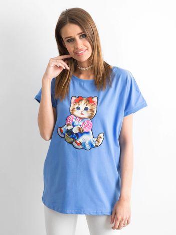 Niebieski luźny t-shirt Sweetness