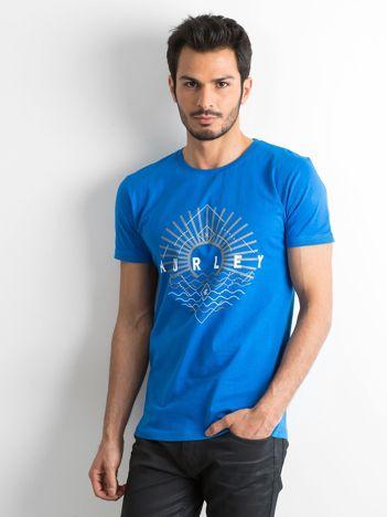 Niebieski męski t-shirt z bawełny
