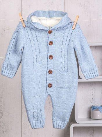 Niebieski niemowlęcy ciepły kombinezon dzianinowy z kapturem dla chłopca lub dziewczynki