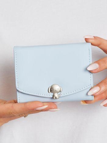 Niebieski podłużny portfel z ekoskóry