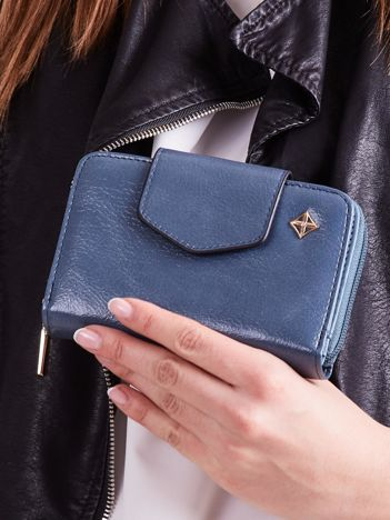 Niebieski portfel damski ze skóry ekologicznej