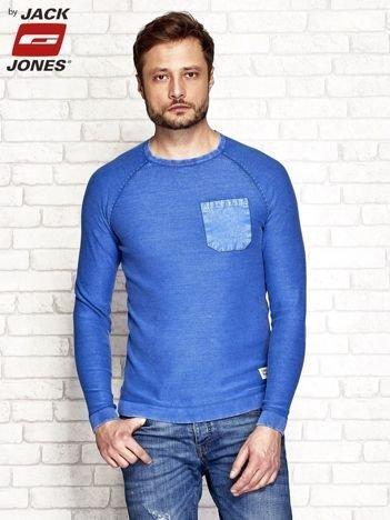 Niebieski sweter męski acid wash