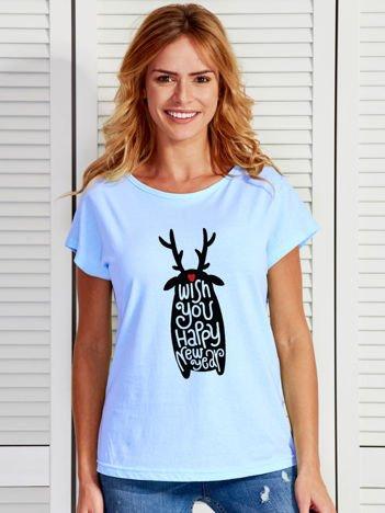 Niebieski świąteczny t-shirt z nadrukiem HAPPY NEW YEAR