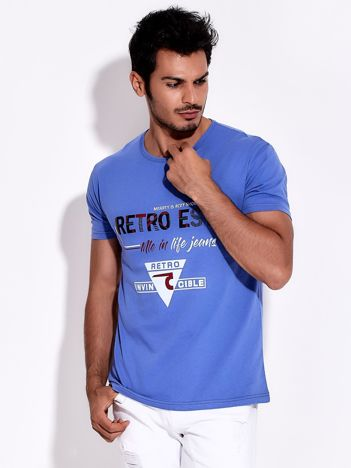 Niebieski t-shirt męski z nadrukiem napisów