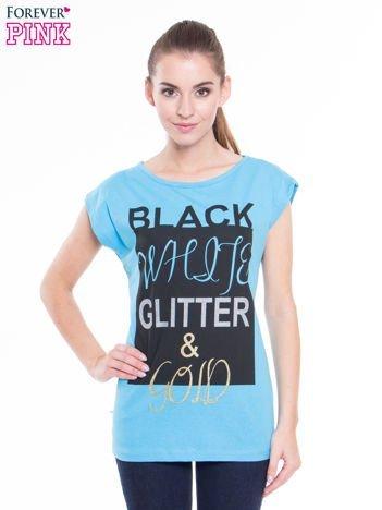 Niebieski t-shirt z nadrukiem tekstowym z efektem glitter