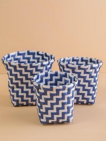 Niebieski zestaw plecionych koszyków