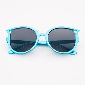 Niebieskie Dziecięce Okulary Słoneczne Z Metalicznym Połyskiem