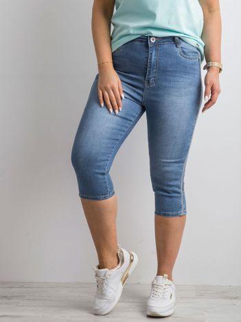 Niebieskie jeansowe spodnie 3/4 PLUS SIZE