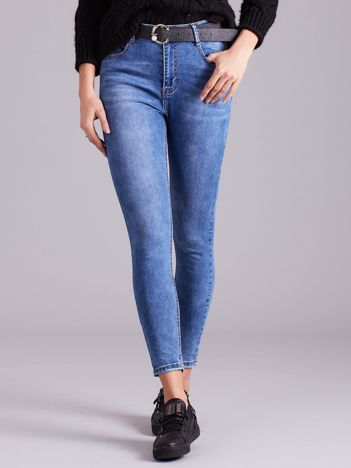 Niebieskie jeansowe spodnie skinny z paskiem