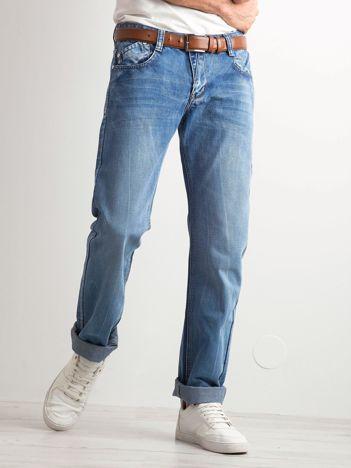 Niebieskie jeansy męskie regular fit