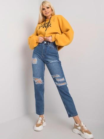 Niebieskie jeansy mom fit z dziurami Odette RUE PARIS