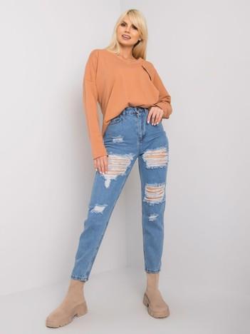 Niebieskie jeansy mom z dziurami Tanel RUE PARIS