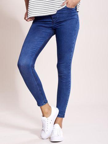 Niebieskie jeansy slim fit z wysokim stanem