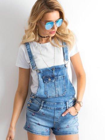 Niebieskie ogrodniczki jeansowe