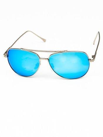 Niebieskie okulary w stylu PILOTKI AVIATORY lustrzanka