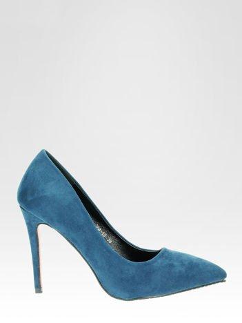 Niebieskie szpilki w szpic z zamszu faux suede