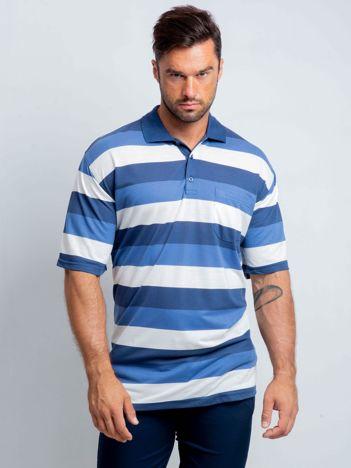 Niebiesko-biała koszulka polo męska plus size Turnover