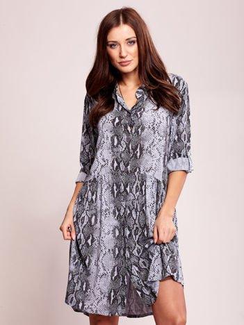 Niebiesko-czarna wzorzysta sukienka na guziki