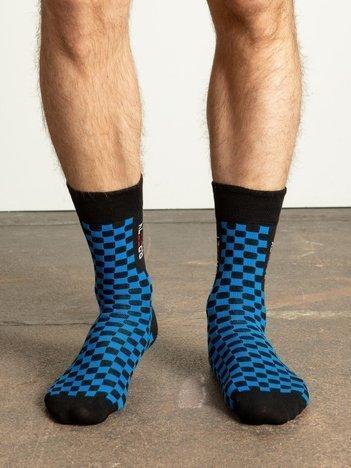 Niebiesko-czarne skarpety męskie w kratkę