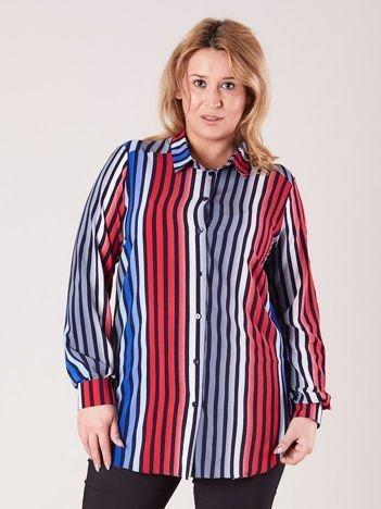 Niebiesko-czerwona koszula w paski PLUS SIZE