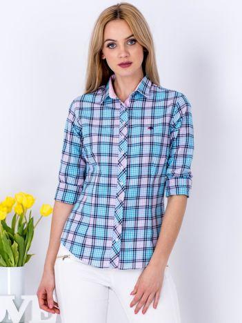 Niebiesko-fioletowa koszula w kratkę