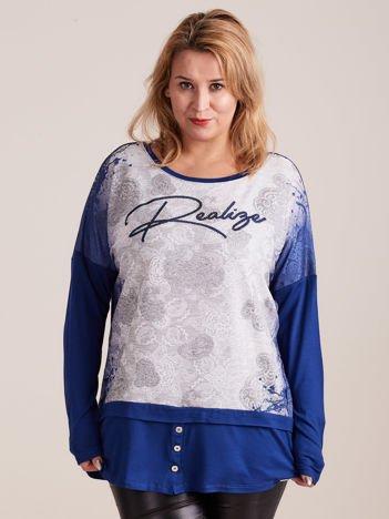 Niebiesko-szara bluzka z koronkowym nadrukiem PLUS SIZE