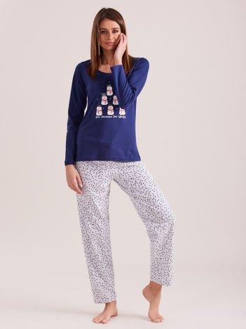 Niebiesko-szara dwuczęściowa piżama