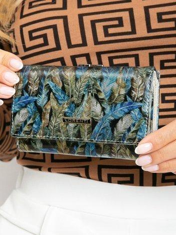 Niebiesko-zielony damski portfel we wzory