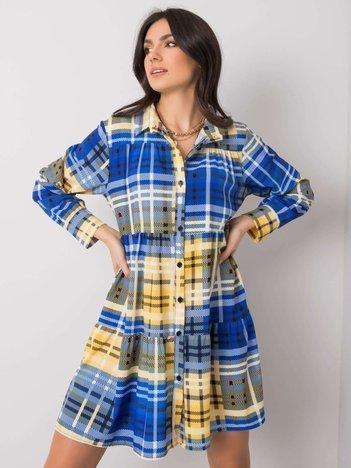 Niebiesko-żółta sukienka z falbaną Mackenzie
