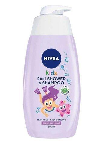 Nivea Kids Żel do mycia i włosów ciała 2w1 dla dziewczynek Sparkle Berry  500 ml