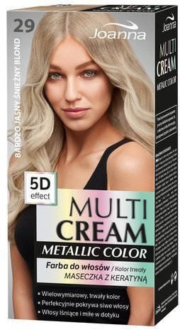 Nowość! JOANNA MULTI CREAM Metallic COLOR Farba 29 Bardzo jasny śnieżny blond