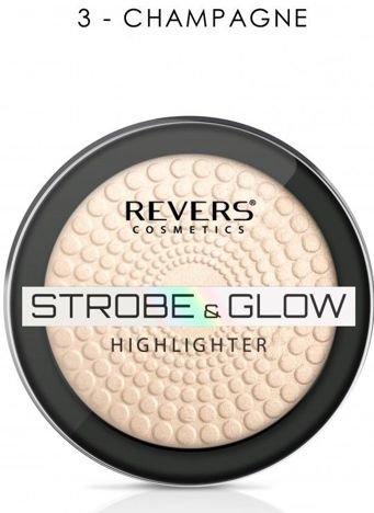 Nowość! REVERS Rozświetlacz STROBE & GLOW HIGHLIGHTER 03 CHAMPAGNE 8 g