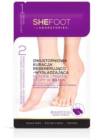 Nowość! SHEFOOT Dwustopniowa kuracja regenerująca dla stóp - wygładzające skarpetki z peelingiem enzymatycznym